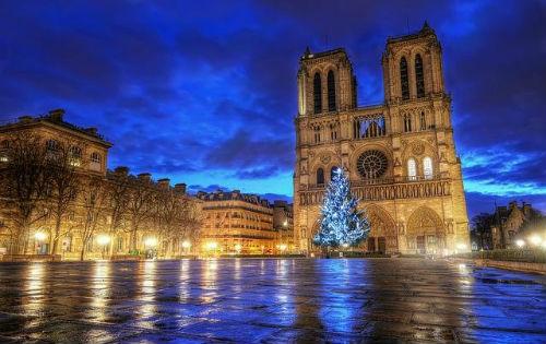 Nhà thờ Đức Bà bên sông Seine về đêm