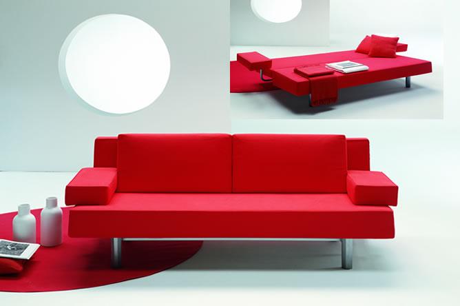 Ghế sofa giường bằng nỉ đỏ - chuyển đổi cơ động giữa ghế và giường