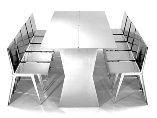 Bộ bàn ăn này được làm từ chất liệu thép.