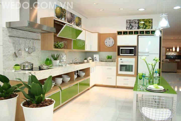 Mang thiên nhiên vào bếp - Tủ bếp chữ L thiết kế gần gũi với thiên nhiên
