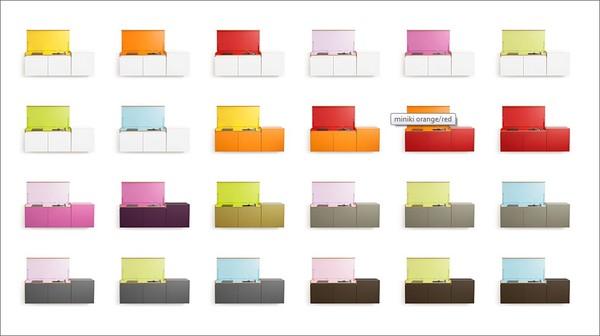 Thiết kế bếp này có 14 màu với 24 mẫu màu phối để lựa chọn.