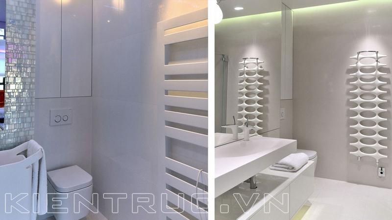 Phòng tắm đơn giản với tone màu trắng