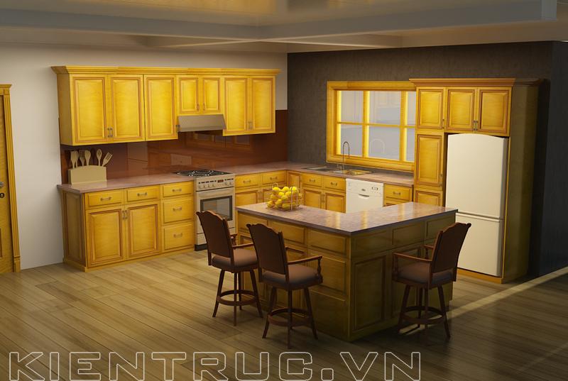 Tủ bếp gỗ tự nhiên hiện đại sang trọng