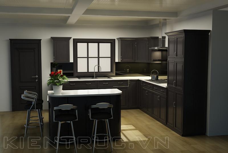 Tủ bếp gỗ tự nhiên hiện đại, sang trọng