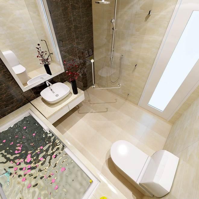 Bồn tắm+rửa mặt+phòng tắm tiết kiệm không gian