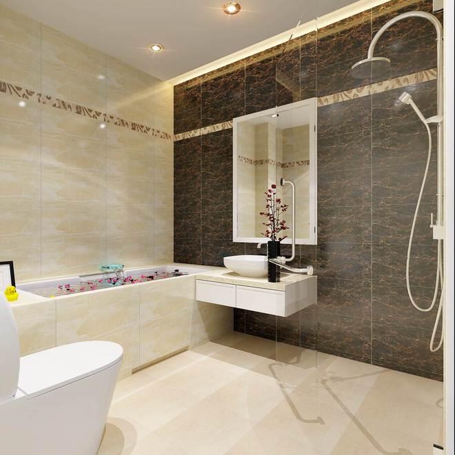 Nhà vệ sinh phối hợp hài hòa màu sắc sáng - tối