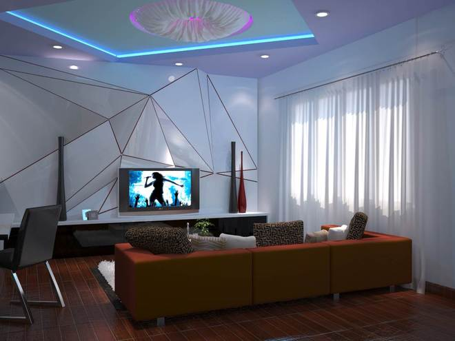 Phòng sinh hoạt chung với họa tiết trên tường