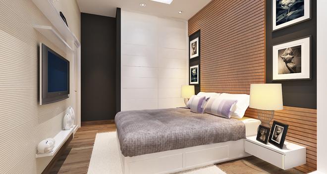 Phối màu phòng ngủ với gỗ và tranh nghệ thuật