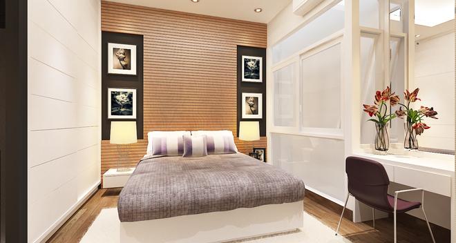 Phối màu phòng ngủ với khung của sổ bên cạnh giường
