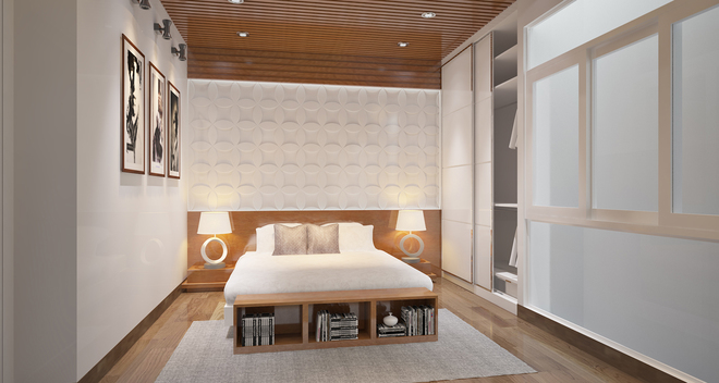 Phối màu phòng ngủ với mảng trang trí đầu giường