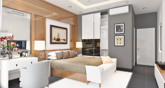 Phối màu phòng ngủ với tủ sát trần