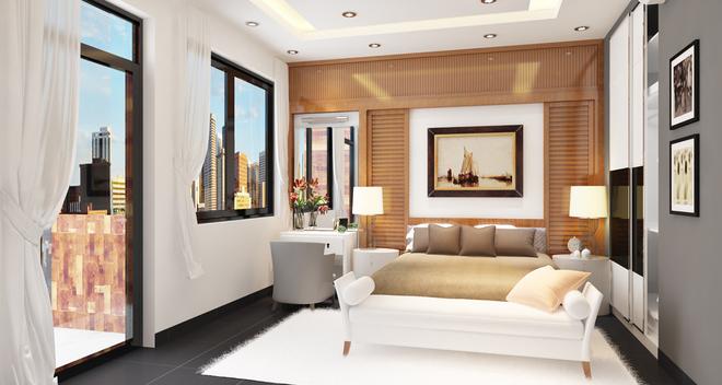 Phối màu phòng ngủ với trần thạch cao và đèn chiếu sáng