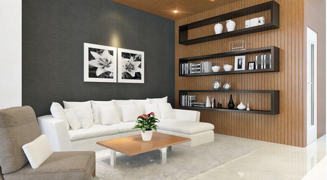 Phối màu sofa trắng và nền tường