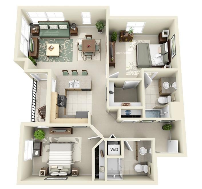 Mẫu chung cư 2 phòng ngủ hiện đại