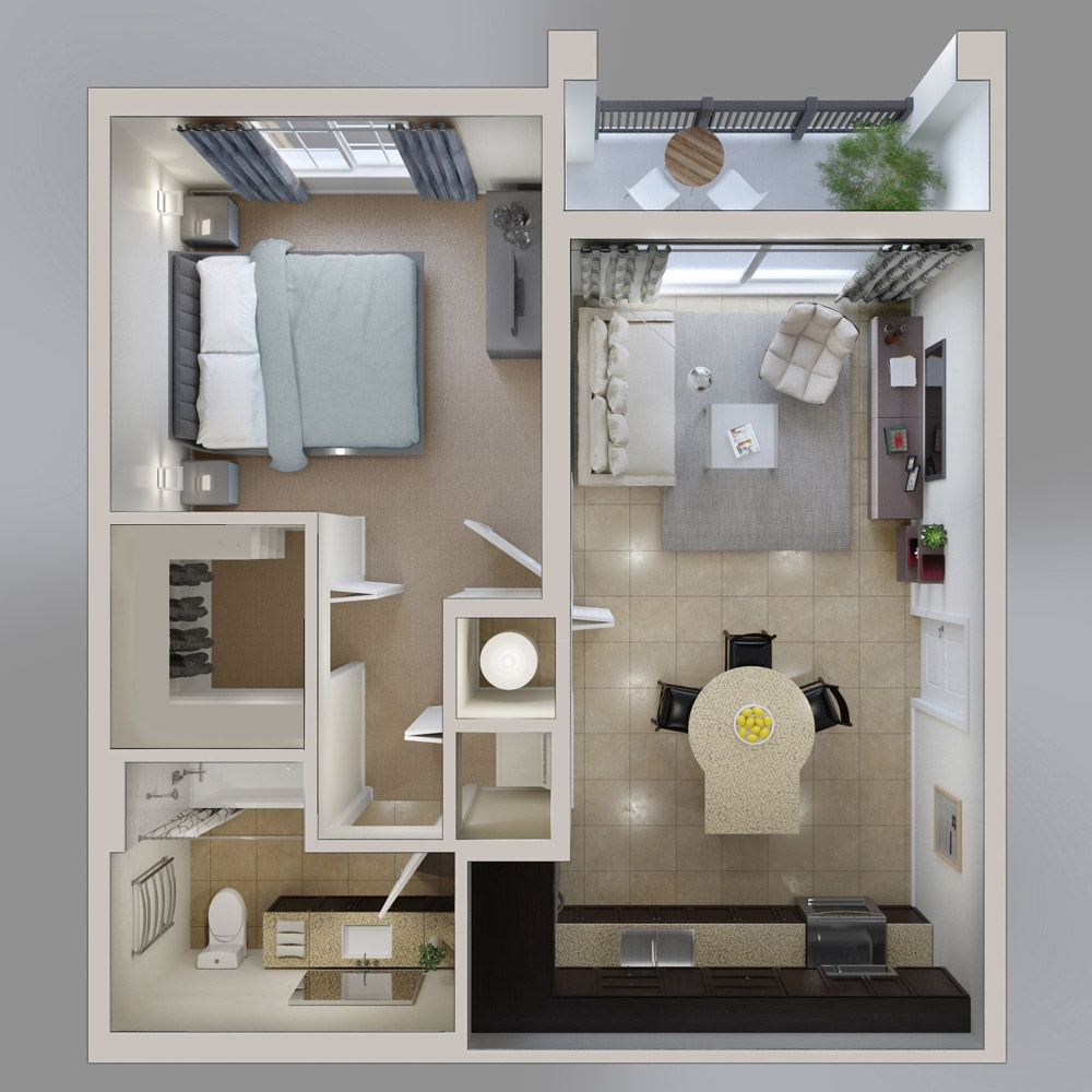 Chung cư 1 phòng ngủ hiện đại
