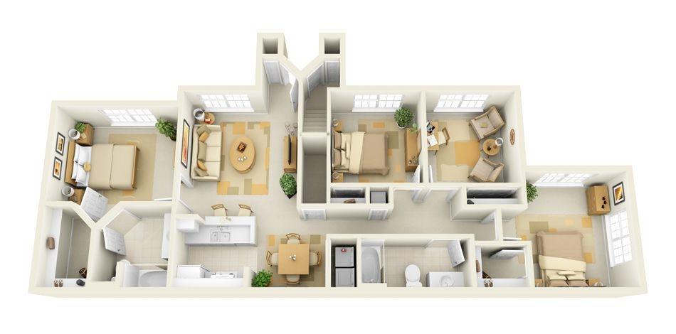 Mẫu chung cư 4 phòng ngủ hiện đại