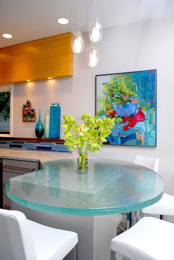 Mau ban bep dep 19 Chia sẻ 22 Mẫu bàn KÍNH đẹp lung linh cho không gian bếp nhà bạn
