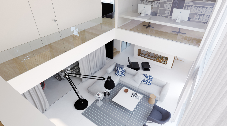 Wedo thiết kế nội thất phòng khách đẹp theo cảm hứng từ nhà để xe ô tô