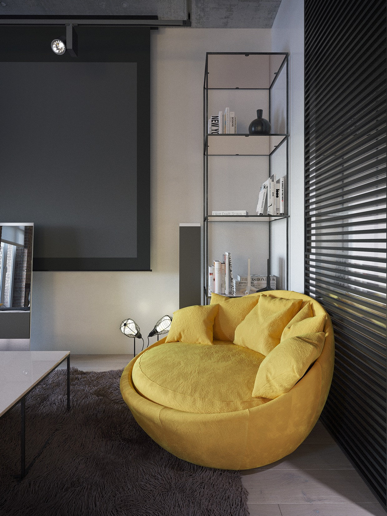 Wedo thiết kế nội thất phòng khách, sofa đẹp với màu vàng