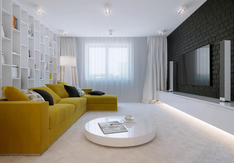 Wedo thiết kế nội thất phòng khách đẹp với màu vàng tô điểm