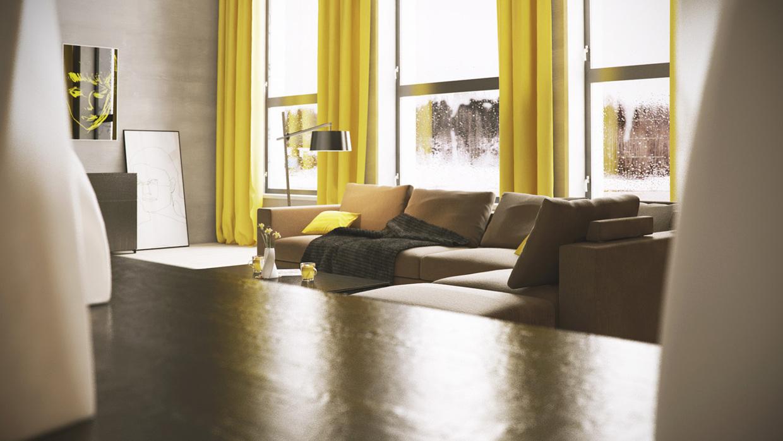 Wedo thiết kế nội thất phòng khách đẹp với màu vàng