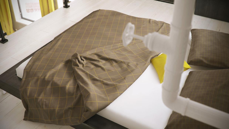 Wedo thiết kế nội thất phòng ngủ màu trầm đẹp điểm sắc vàng