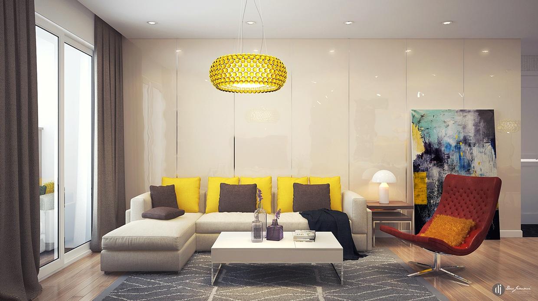 Wedo thiết kế phòng khách đẹp với nội thất màu vàng
