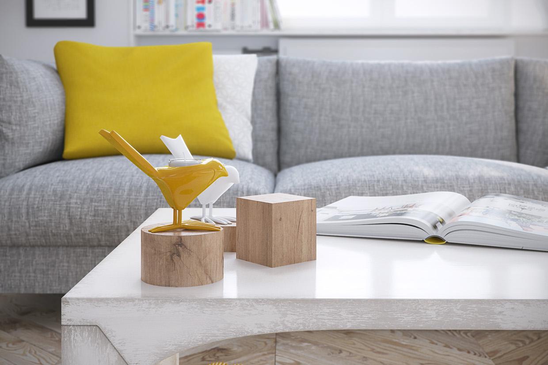 Wedo thiết kế nội thất phòng khách đẹp với sắc vàng