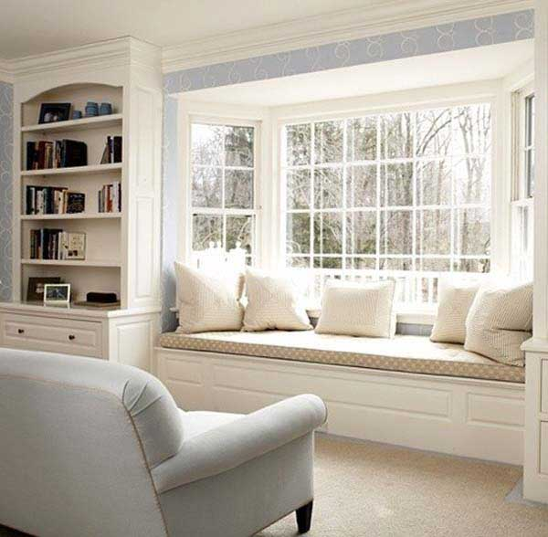 Thiết kế góc thư giãn đẹp bên khung cửa sổ phòng khách