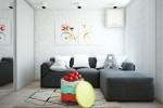 Wedo thiết kế nội thất phòng khách sáng sủa, gọn gàng cho căn hộ 1 phòng ngủ