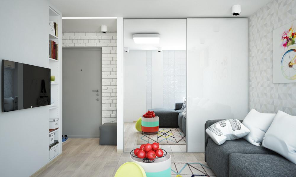 Wedo thiết kế nội thất phòng khách sáng sủa và gọn gàng cho căn hộ 1 phòng ngủ