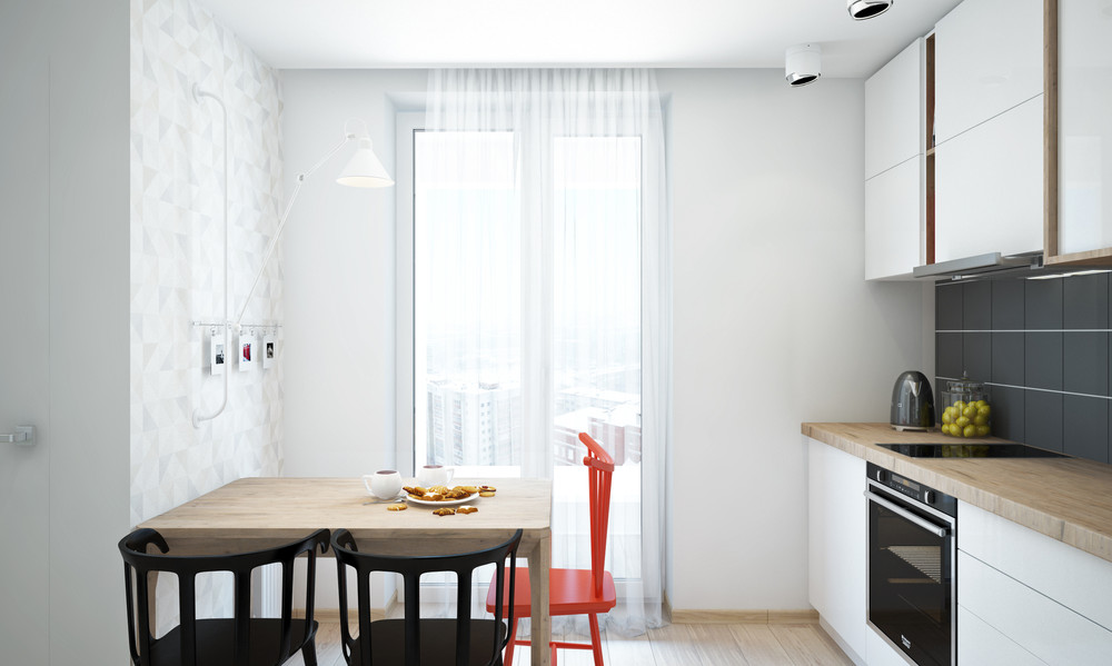 Wedo thiết kế nội thất phòng bếp sáng sủa, gọn gàng cho căn hộ 1 phòng ngủ