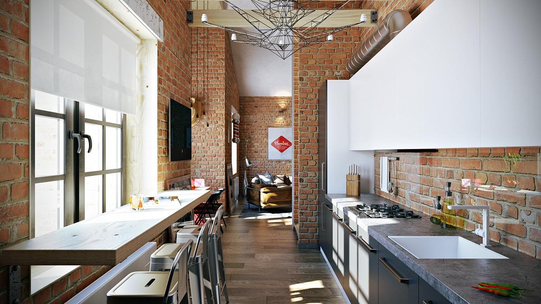 Wedo thiết kế nội thất đẹp cho căn hộ tầng áp mái với gạch trần