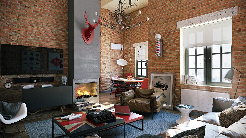 Wedo thiết kế nội thất đẹp với gạch trần cho phòng khách căn hộ áp mái