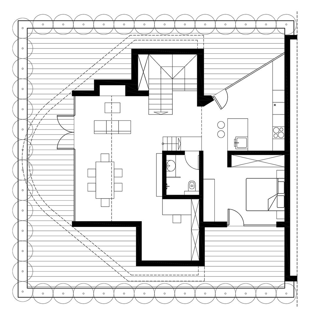 Bản vẽ kỹ thuật thiết kế nội thất đẹp như mơ cho căn hộ tầng áp mái