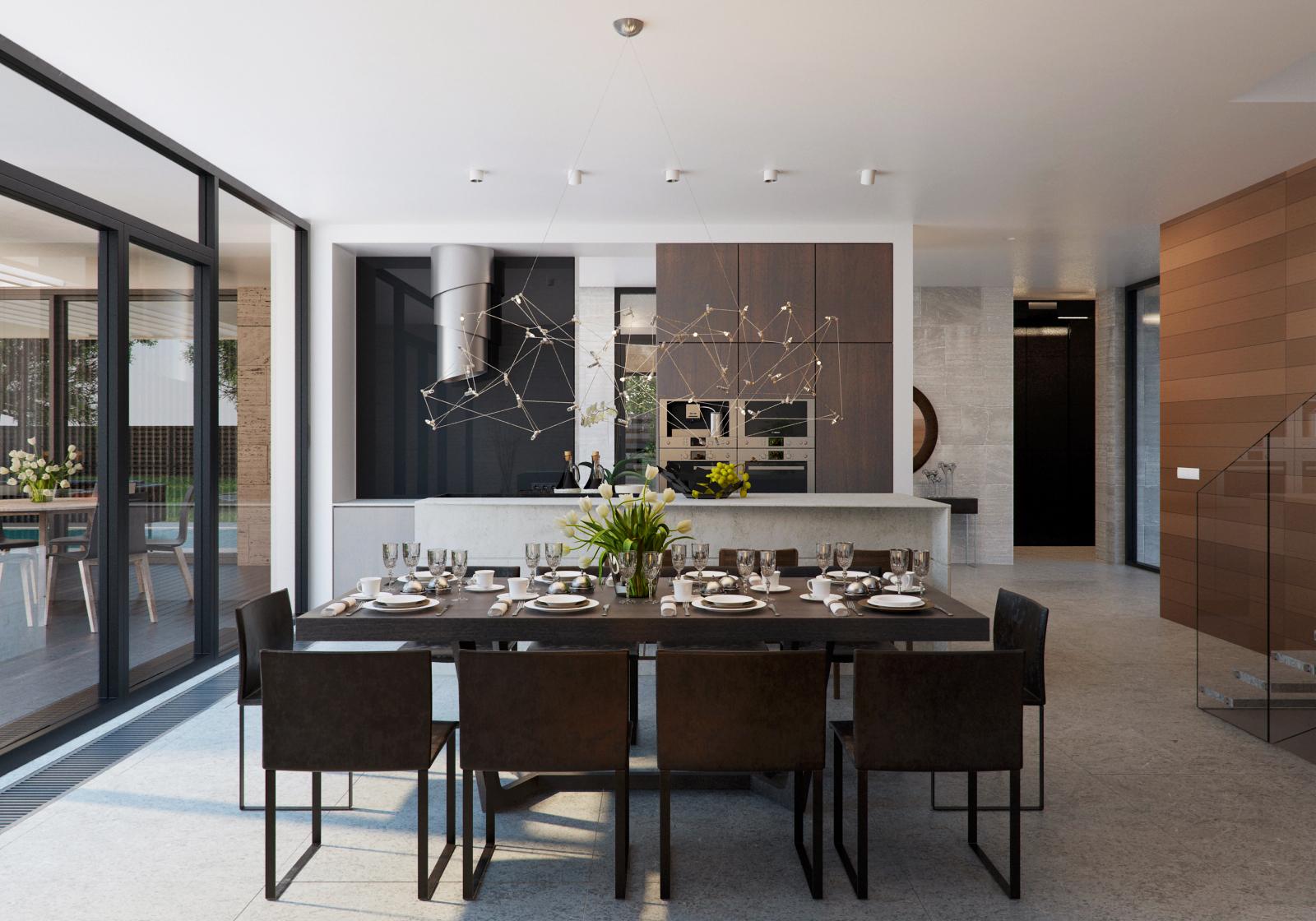 Wedo thiết kế nội thất phòng ăn đẹp, sang trọng với gỗ và đá