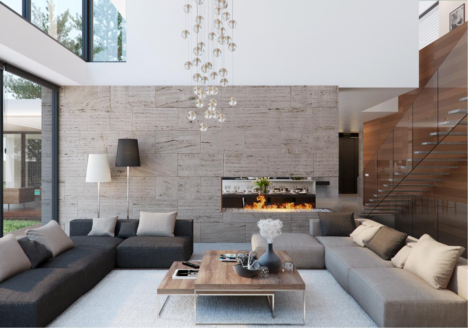 Wedo thiết kế nội thất phòng khách đẹp, sang trọng với gỗ và đá