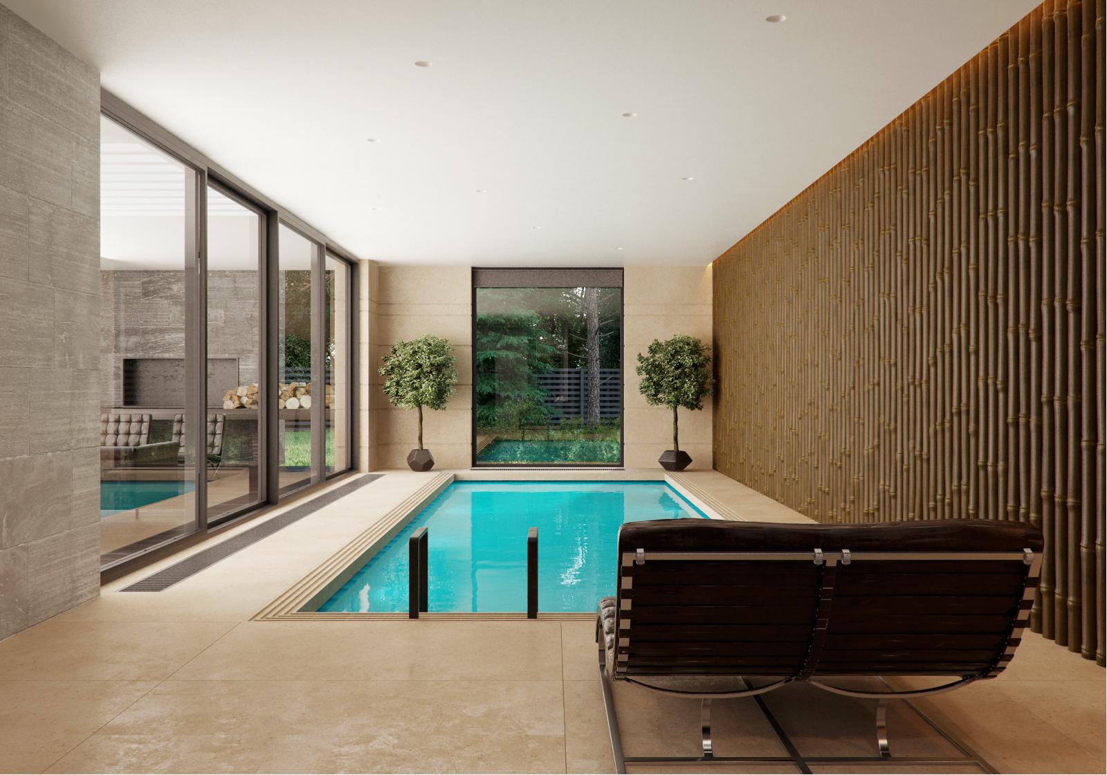 Wedo thiết kế nội thất hồ bơi trong nhà đẹp, sang trọng với gỗ và đá