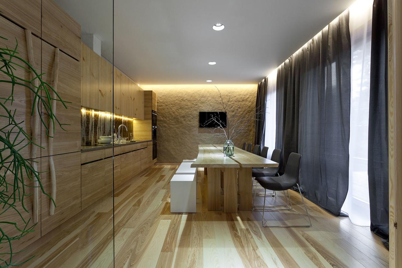 Wedo thiết kế nội thất nhà bếp và phòng ăn đẹp, sang trọng với gỗ tự nhiên