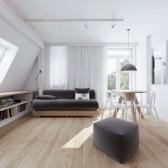 Wedo thiết kế nội thất phòng khách thông minh cho căn hộ tầng áp mái nhà