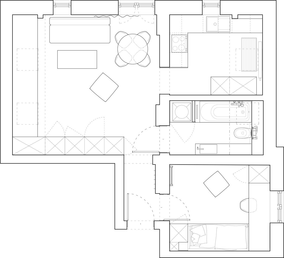 Bản vẽ kỹ thuật thiết kế nội thất thông minh cho căn hộ nhỏ tầng áp mái