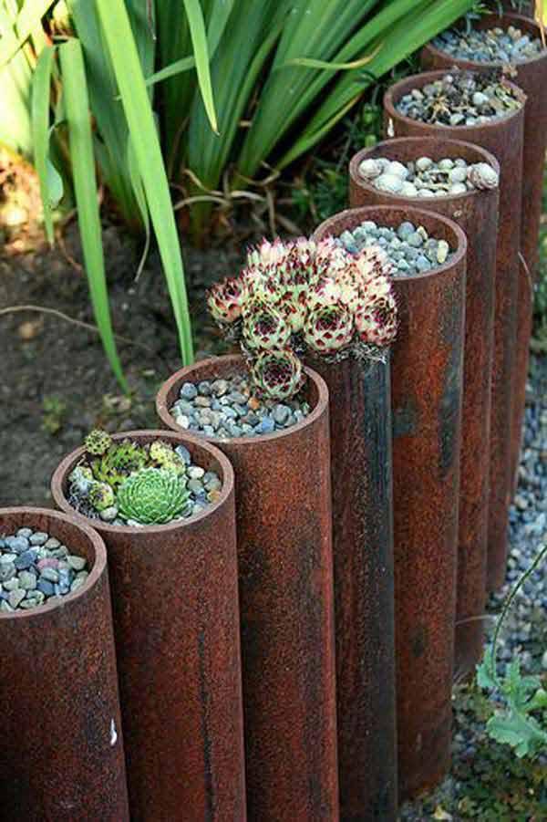 Wedo thiết kế tiểu cảnh sân vườn đơn giản và độc đáo với ống sắt