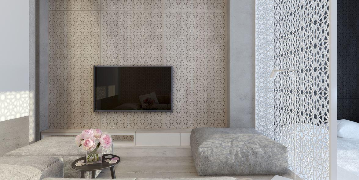 Wedo thiết kế phòng khách mở nội thất tối giản đẹp