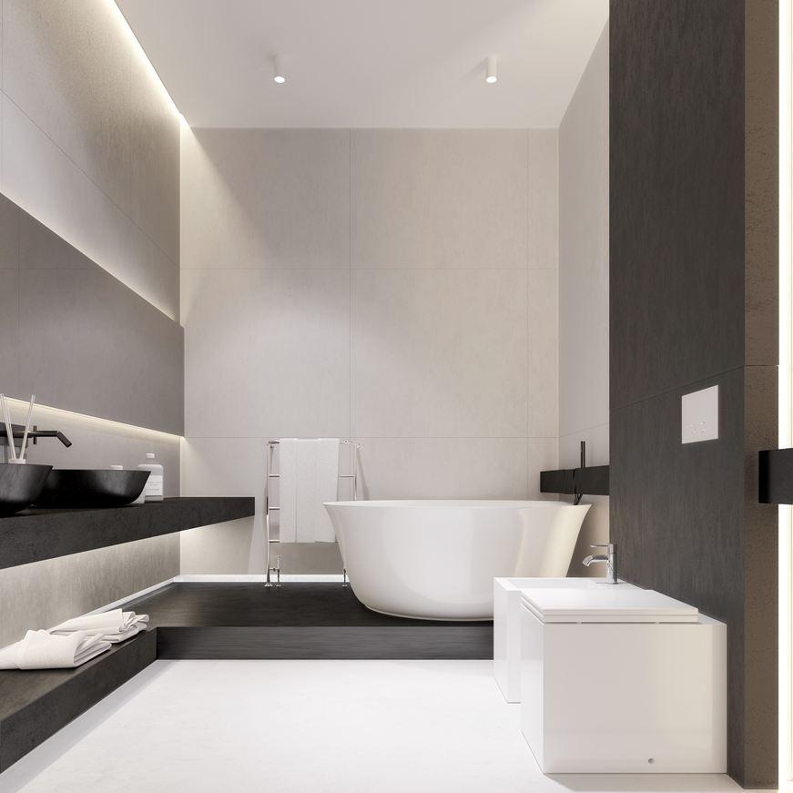 Wedo thiết kế phòng tắm mở với nội thất tối giản đẹp