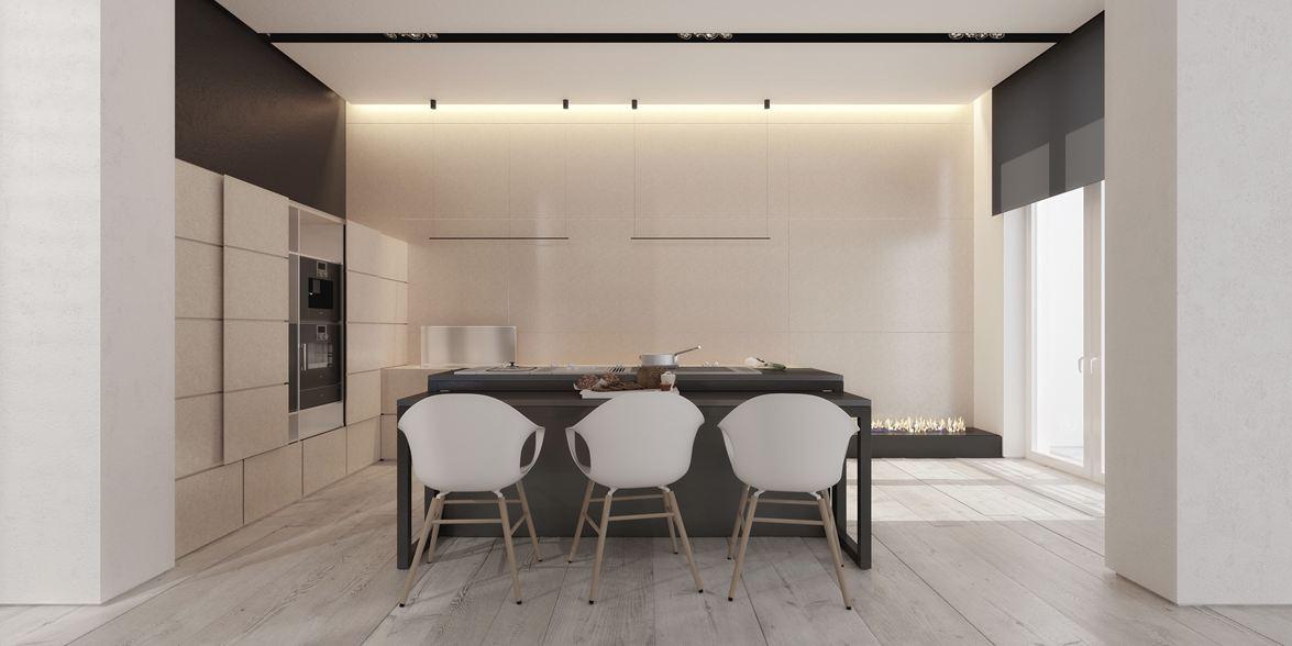 Wedo thiết kế nhà bếp và phòng ăn mở với nội thất tối giản đẹp