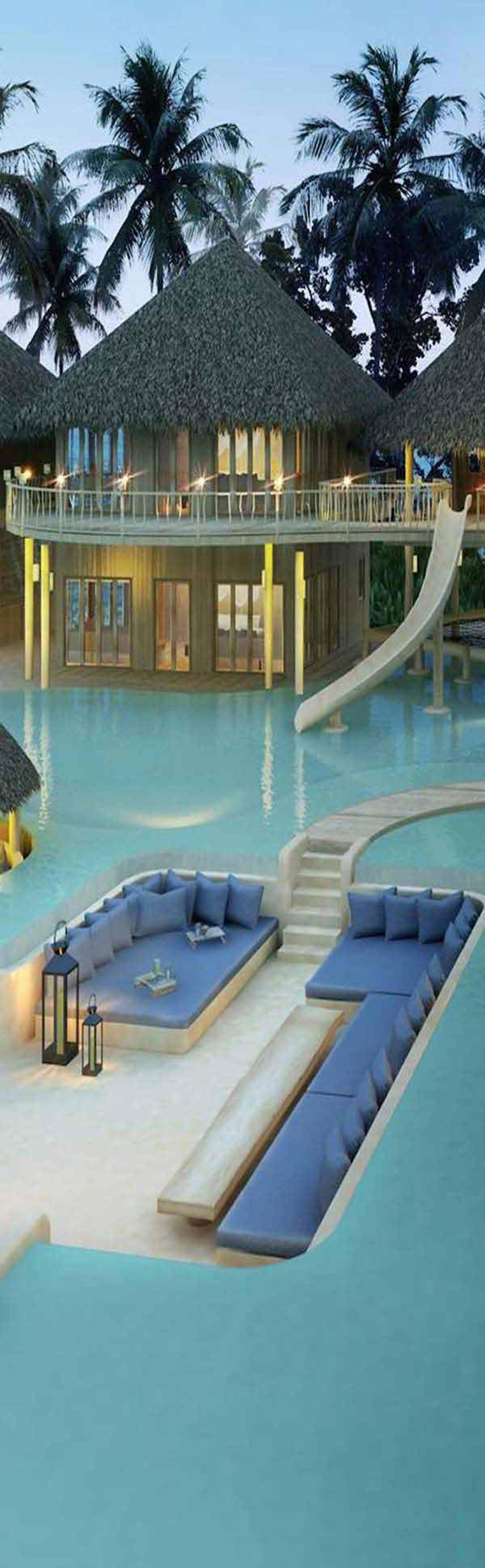 Wedo thiết kế phòng khách, phòng ngủ đẹp trong bể bơi