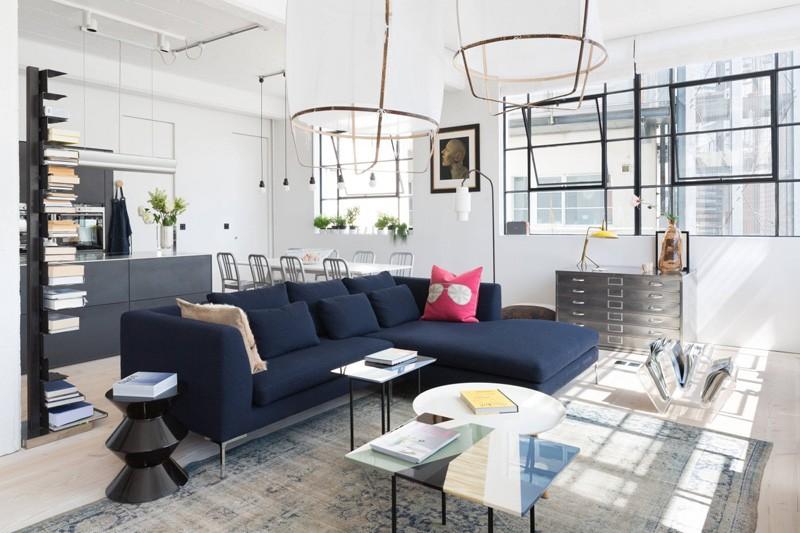 Wedo thiết kế nội thất phòng khách mở từ không gian công nghiệp