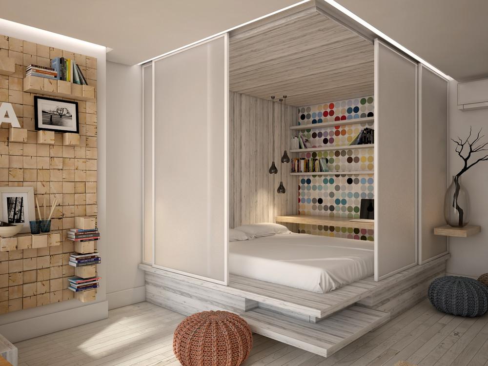 Wedo thiết kế nội thất hoàn hảo cho phòng khách, phòng ngủ mở nhỏ