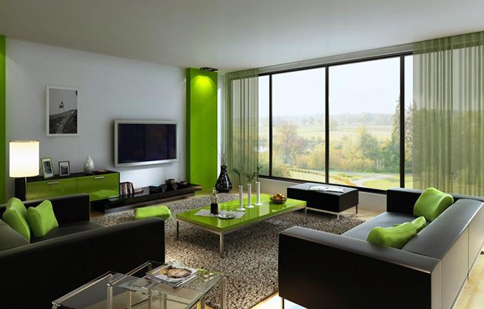 Wedo thiết kế nội thất phòng khách trẻ trung, tươi sáng với màu xanh lá cây 7