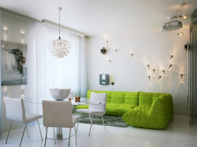 Wedo thiết kế nội thất phòng khách trẻ trung, tươi sáng với màu xanh lá cây 3